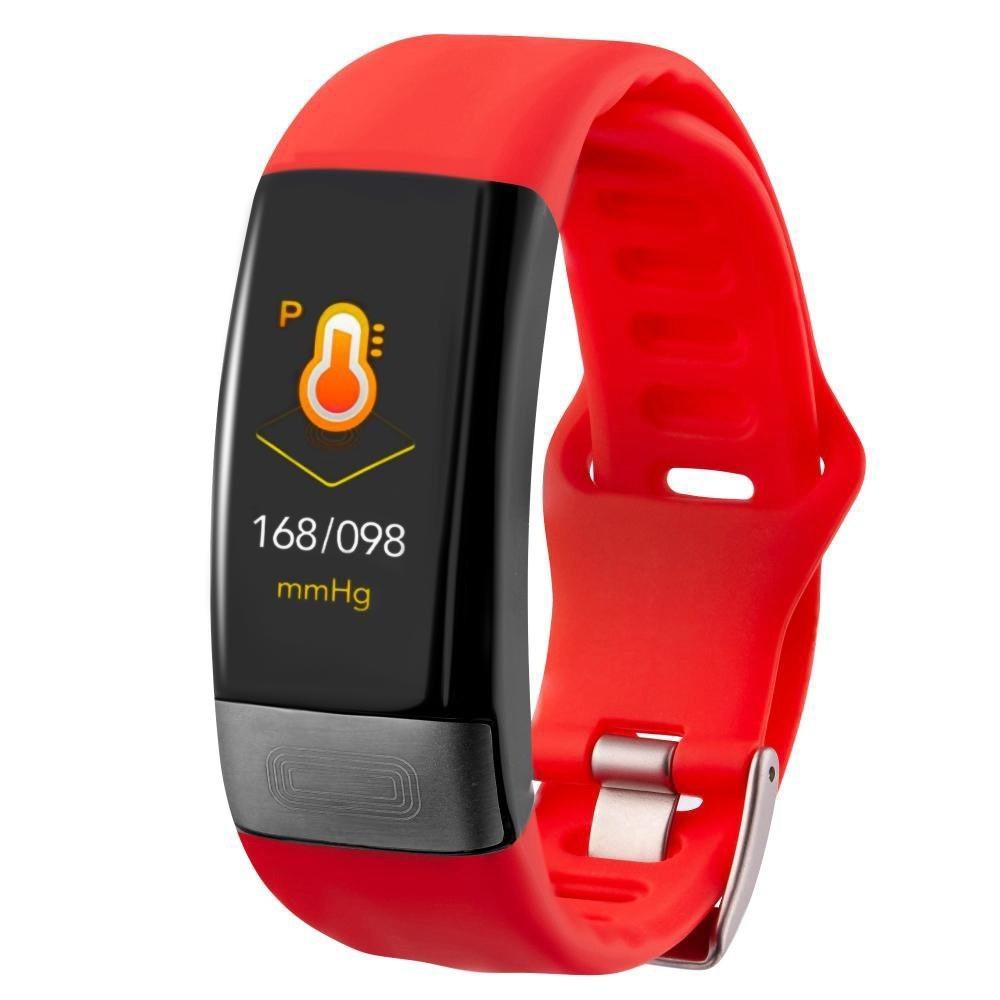 Фитнес-браслет с измерением давления, пульса и ЭКГ Gsmin E11 красный