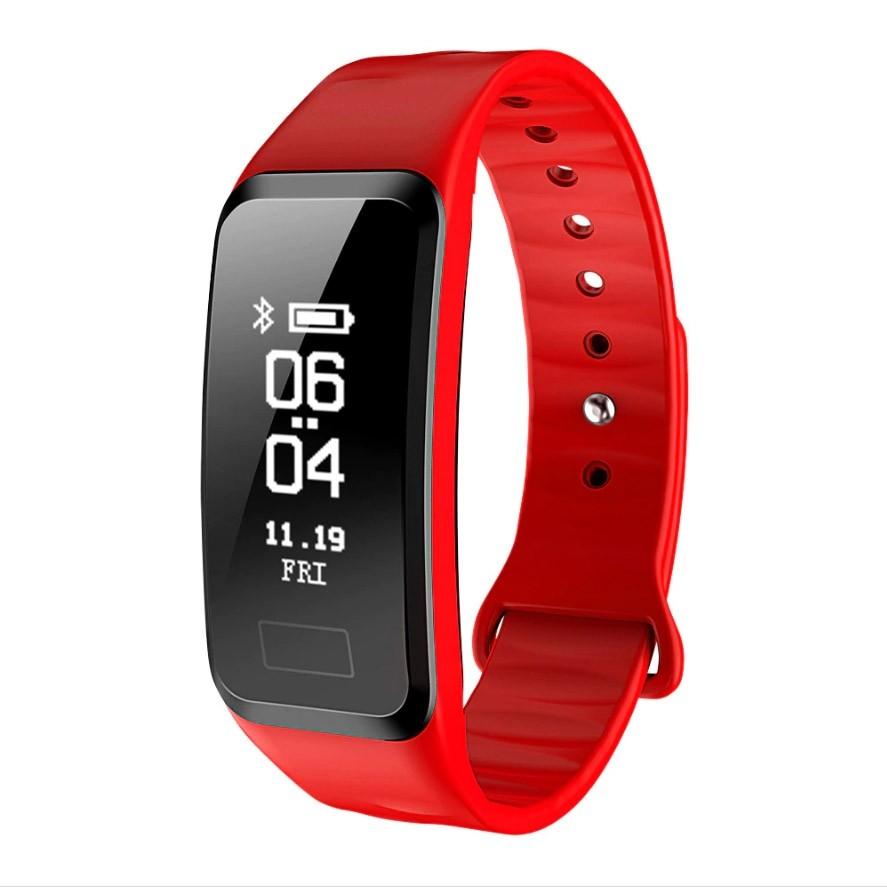 Фитнес-браслет с измерением давления и пульса Gsmin R1 красный