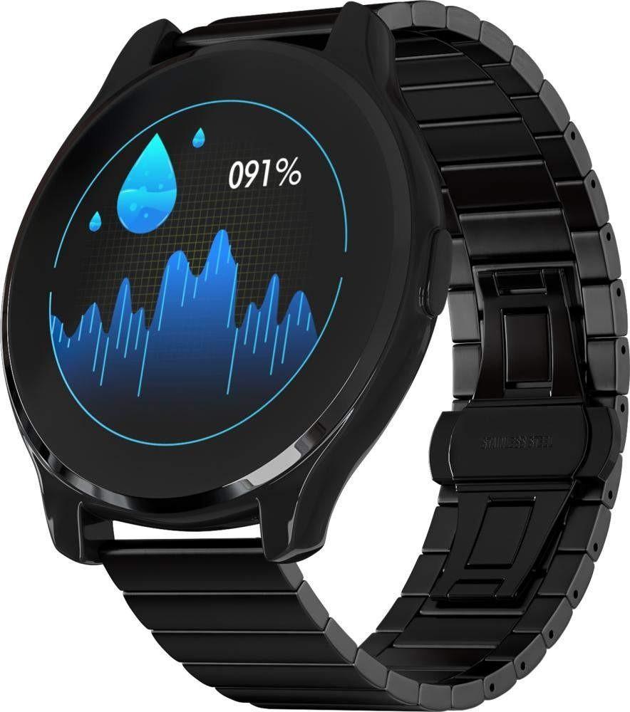 Фитнес-часы с измерением давления и пульса Gsmin WP7 черные, черная сталь