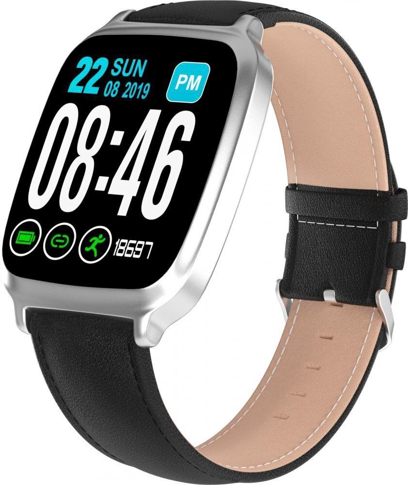 Фитнес-часы с измерением давления и пульса Gsmin WP10 серебристые, кожа