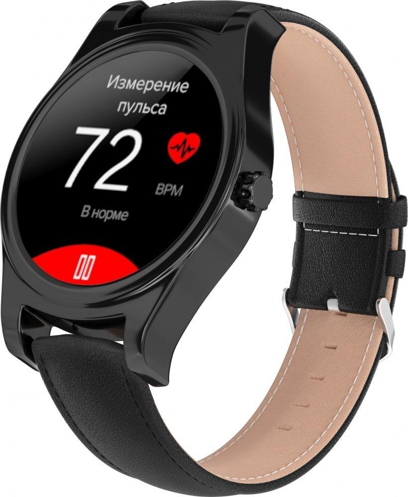 Фитнес-часы с измерением давления и пульса Gsmin WP5 черные, черная кожа