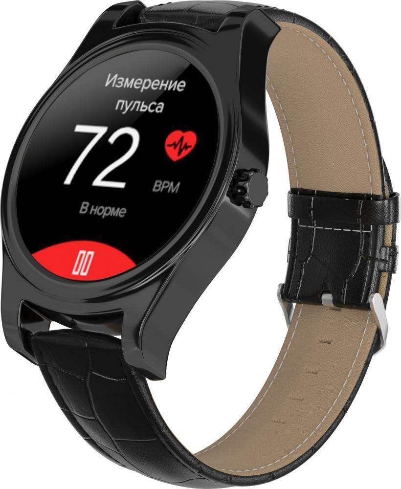 Фитнес-часы с измерением давления и пульса Gsmin WP5 черные, черная кожа крокодил