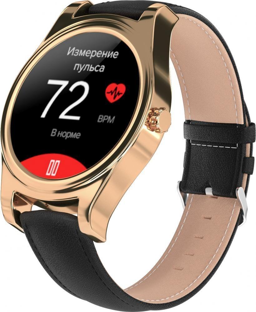 Фитнес-часы с измерением давления и пульса Gsmin WP5 золотистые, черная кожа