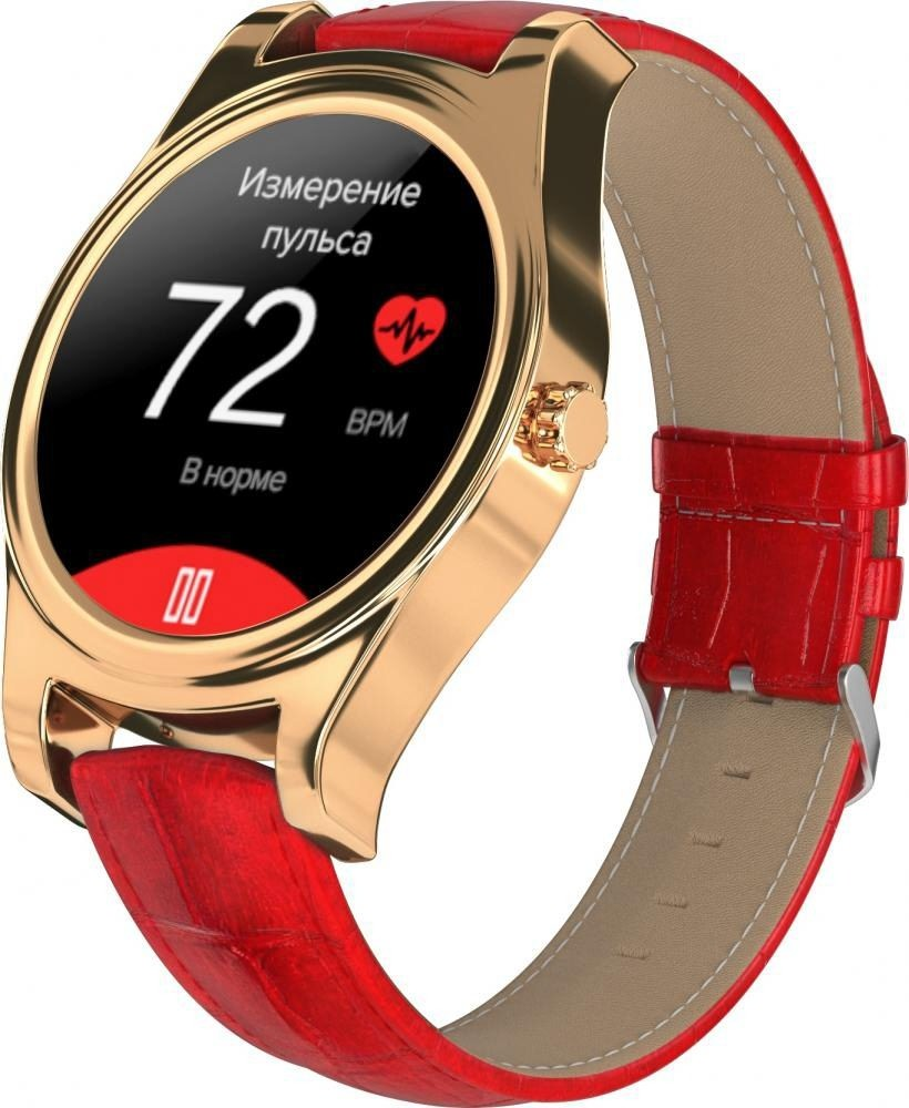 Фитнес-часы с измерением давления и пульса Gsmin WP5 золотистые, красная кожа крокодил