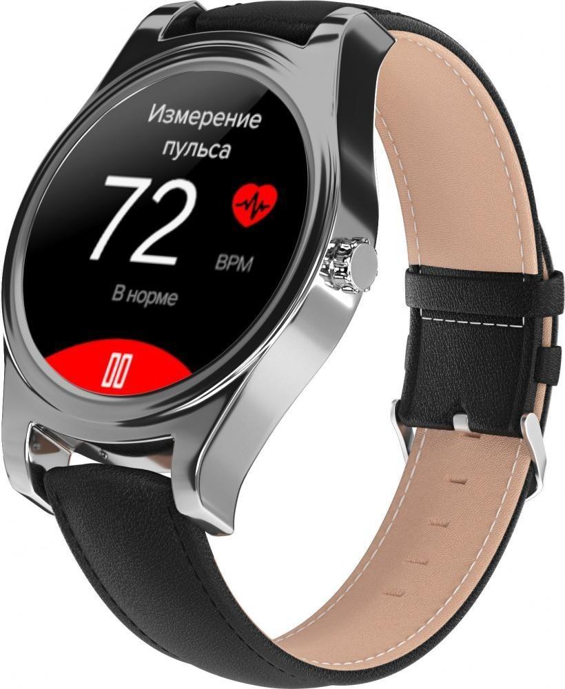 Фитнес-часы с измерением давления и пульса Gsmin WP5 серебристые, черная кожа