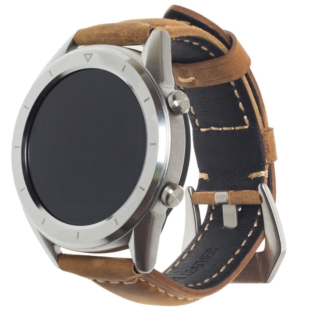 Фитнес-часы с измерением давления, пульса и ЭКГ Gsmin WP90 Suede (серебристый корпус, коричневая замша)