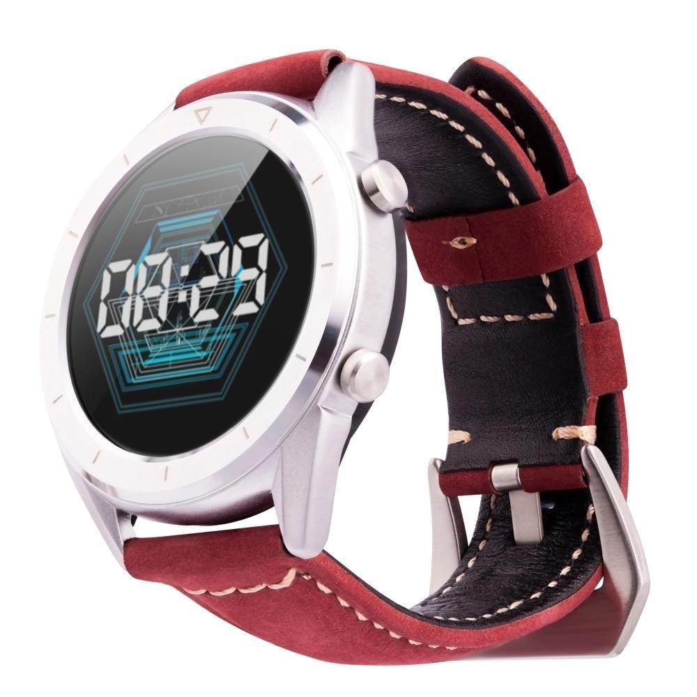 Фитнес-часы с измерением давления, пульса и ЭКГ Gsmin WP90 Suede (серебристый корпус, красная замша)