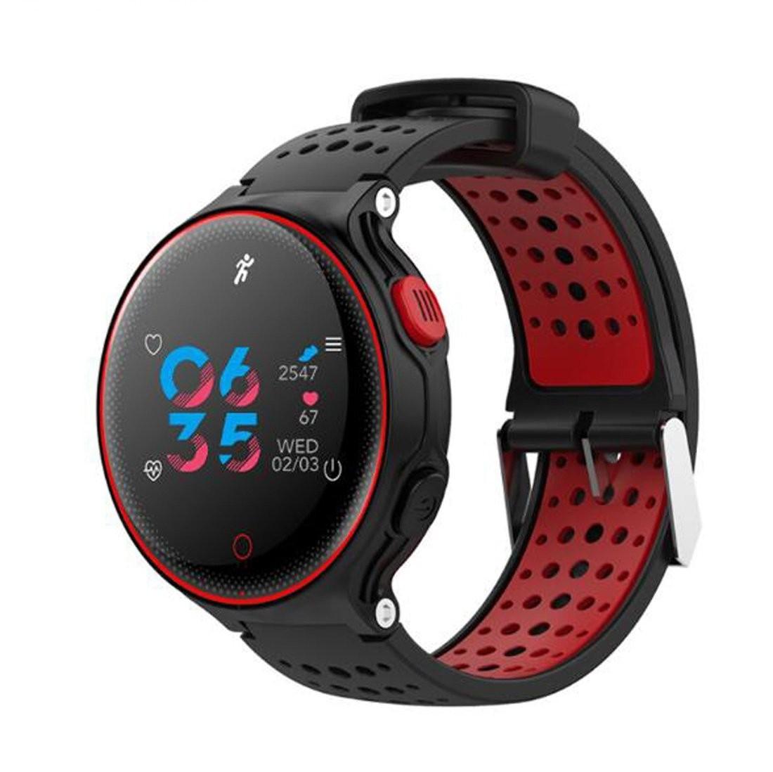 Фитнес-часы с измерением давления и пульса Gsmin X2 Plus черно-красные