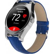 Фитнес-часы с измерением давления и пульса Gsmin WP5 серебристые, синяя кожа крокодил