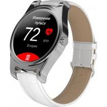 Фитнес-часы с измерением давления и пульса Gsmin WP5 серебристые, белая кожа крокодил